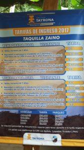 Precios de Taquilla, Parque Tayrona